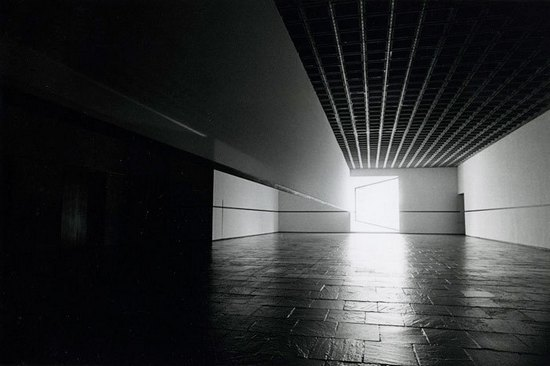 Robert Irwin (b. 1928), Scrim veil—Black rectangle—Natural light, Whitney Museum of American Art, New York, 1977. Cloth, metal, and wood. Overall: 144 × 1368 × 49 inches (365.8 x 347.7 x 124.5 cm). Whitney Museum of American Art, New York; Gift of the artist. © Robert Irwin. Photograph © Warren Silverman