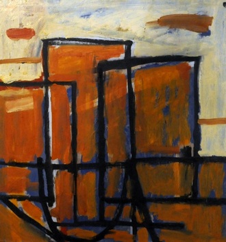 """Composition Orange"", oil on board"