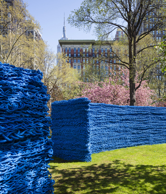 Red Yellow and Blue by Orly Genger at Madison Square Park