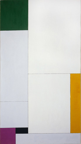 Georges Vantongerloo, - Composition Derived from the Equation y = -ax2 + bx + 18 with Green, Orange, Violet (Black) (Composition émanante de l'équation y = -ax2 + bx + 18 avec accord de vert...orangé...violet [noir]), 1930. Oil on canvas, 47 × 26 7/8 inches (119.4 × 68.2 cm). Solomon R. Guggenheim Museum, New York, 51.1299. © 2013 Artists Rights Society (ARS), New York / Pro Litteris, Zurich
