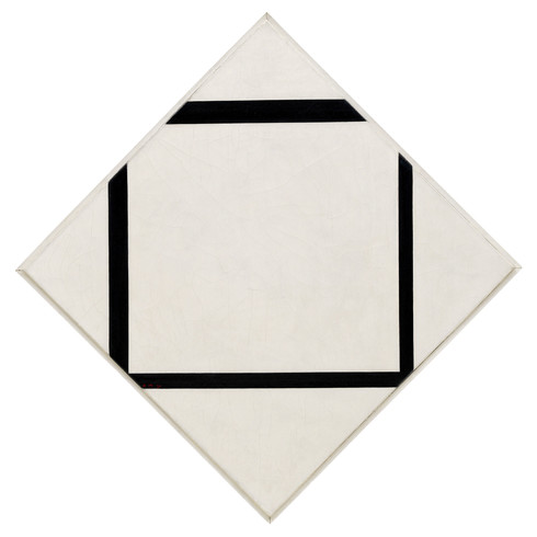 Piet Mondrian, Composition No. 1: Lozenge with Four Lines, 1930. Oil on canvas, 29 5/8 × 29 5/8 inches (75.2 × 75.2 cm); vertical axis: 41 3/8 inches (105 cm). Solomon R. Guggenheim Museum, New York, The Hilla Rebay Collection, 71.1936.R96. © 2007 Mondrian/Holtzman Trust