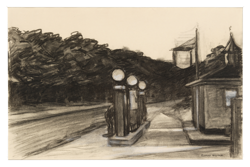 Edward Hopper (1882–1967), Study for Gas, 1940. Charcoal and white chalk with graphite pencil on paper, 15 1/16 × 22 1/8 in. (38.3 × 56.2 cm). Whitney Museum of American Art, New York; Josephine N. Hopper Bequest 70.349. © Heirs of Josephine N. Hopper, licensed by the Whitney Museum of American Art. Digital image © Whitney Museum of American Art