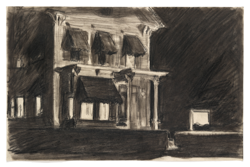 Edward Hopper (1882–1967), Study for Rooms for Tourists, 1945. Fabricated chalk and charcoal on paper, 10 3/8 × 16 in. (26.4 × 40.6 cm). Whitney Museum of American Art, New York; Josephine N. Hopper Bequest 70.438. © Heirs of Josephine N. Hopper, licensed by the Whitney Museum of American Art. Digital image © Whitney Museum of American Art