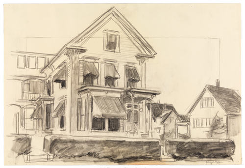 Edward Hopper (1882–1967), Study for Rooms for Tourists, 1945. Fabricated chalk and charcoal on paper, 15 × 22 1/8 in. (38.1 × 56.2 cm). Whitney Museum of American Art, New York; Josephine N. Hopper Bequest 70.848. © Heirs of Josephine N. Hopper, licensed by the Whitney Museum of American Art. Digital image © Whitney Museum of American Art
