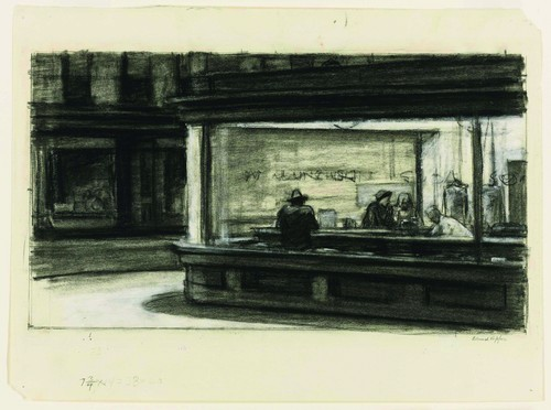 Edward Hopper (1882–1967), Study for Nighthawks, 1941 or 1942. Fabricated chalk and charcoal on paper; 11 1/8 × 15 in. (28.3 × 38.1 cm). Whitney Museum of American Art, New York; purchase and gift of Josephine N. Hopper by exchange 2011.65