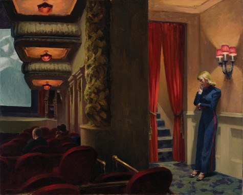 Edward Hopper (1882–1967), New York Movie, 1939 Oil on canvas, 32 1/4 × 40 1/8 in. (81.9 × 101.9 cm) The Museum of Modern Art, New York; given anonymously 396.1941 © Heirs of Josephine N. Hopper, licensed by the Whitney Museum of American Art. Digital Image. Digital Image © The Museum of Modern Art/Licensed by SCALA / Art Resource, NY