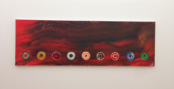 Jack Whitten Nine Cosmic CD's: For the Firespitter (Jane Cortez), 2013 Acrylic on canvas 45h x 137.5w inches Photo by Gustavo Taborda