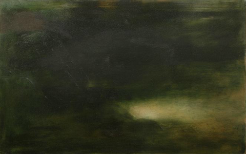 """Jake Berthot """"Is the Sound of the Sky the Blue Voice of Air"""" (Poem by Pablo Neruda), 2012 Oil on Linen, 27 1/2 x 43 1/2 in.69.9 x 110.5 cm"""