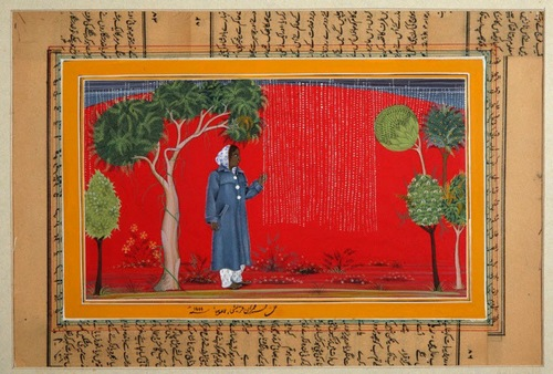 Hajra Loves Rain Imran Qureshi Gouache on pasted papers 6 3/4 × 11 in. (17.2 × 28 cm)