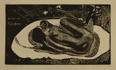"Paul Gauguin, French, 1848–1903 Manao tupapau (Watched by the Spirit of the Dead), state I/IV, from the suite Noa Noa (Fragrant Scent), 1893–1894 Woodcut Composition: 8 1/16 × 14"" (20.4 × 35.5 cm) Sheet: 8 1/8 x 14 1/8"" (20.7 x 35.8 cm)"