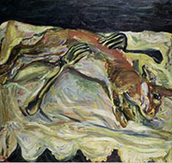 "Soutine, c. 1924, ""Hare with Forks"", oil on canvas, 26 x 25 3/8"" Private Collection"