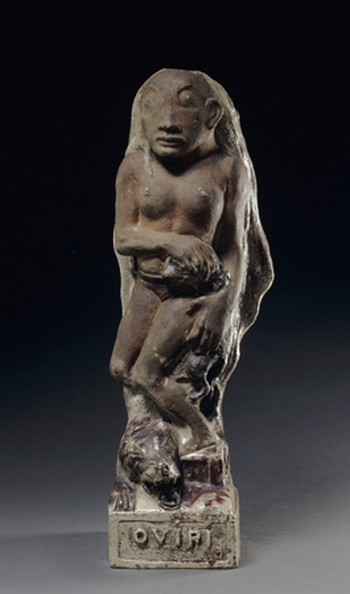 "Paul Gauguin, French, 1848–1903 Oviri (Savage), 1894 Partly enameled stoneware 29 1/2 x 7 1/2 x 10 5/8"" (75 x 19 x 27 cm)"
