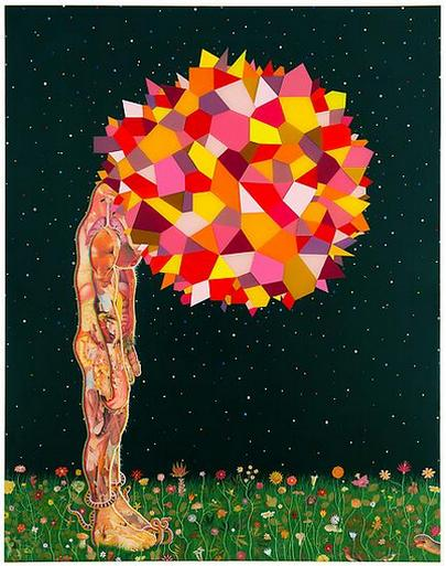 Fred Tomaselli Head 2013 Mixed media and resin on wood panel 90 x 66 in. (228.6 x 167.6 cm)
