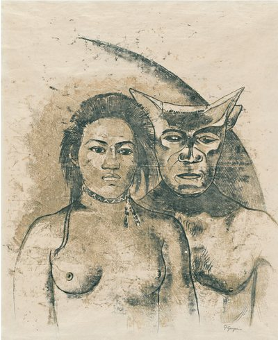 "Paul Gauguin, French, 1848–1903 Tahitian Woman with Evil Spirit, c. 1900 Recto: oil transfer drawing; verso: graphite and colored pencil Sheet: 25 9/16 × 18 1/8"" (65 × 46 cm)"