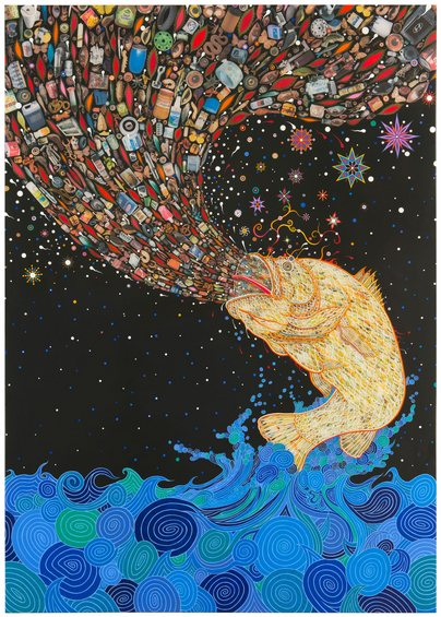 Fred Tomaselli Gyre 2014 Photo-collage, leaves, acrylic, and resin on wood panel 84 x 60 in. (213.4 x 152.4 cm)