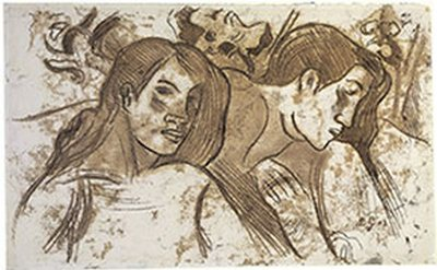 "Paul Gauguin, French, 1848–1903 Two Marquesans, c. 1902 Oil transfer drawing Sheet: 12 5/8 x 20 1/16"" (32.1 x 51 cm)"