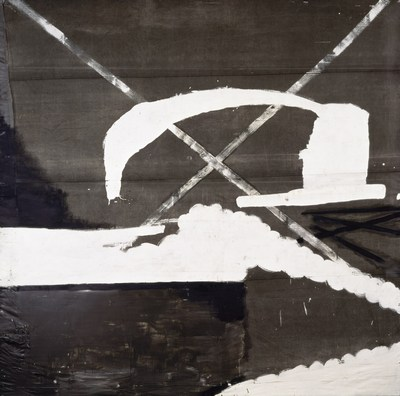 """Julian Schnabel Untitled (Treatise on melancholia), 1989 Oil, gesso on tarp 180 x 180 inches / 457.2 x 457.2 cm """"(c) 2014 Julian Schnabel / Artists Rights Society (ARS), New York. Courtesy Gagosian Gallery. Photography by Phillips/Schwab""""."""