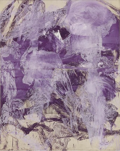"Julian Schnabel A Little Later, 1990 Oil, gesso on tarpaulin 96 x 76"" / 243.8 x 193 cm ""(c) 2014 Julian Schnabel / Artists Rights Society (ARS), New York. Courtesy Gagosian Gallery. Photography by Robert McKeever""."