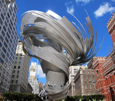 Twister (Park Avenue Paper Chase), Aluminum, 12′ high × 12′ diameter,  2014. 66th Street on Park Avenue.