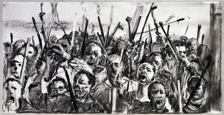 William Kentridge Drawing for 'Other Faces'  (Protestors - close up)  2011. Charcoal and colored pencil on paper.