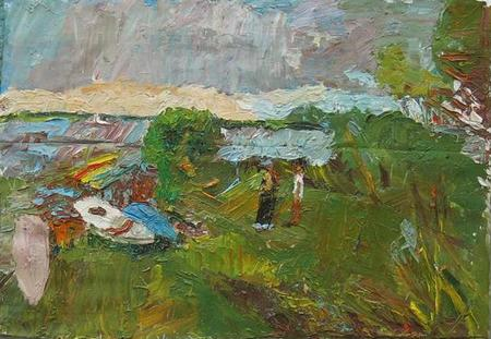 Stanley Lewis, Boat on the Beach, Lake Chautauqua, Oil on Canvas, 2013 47 3/4 x 37 ¾ inches.