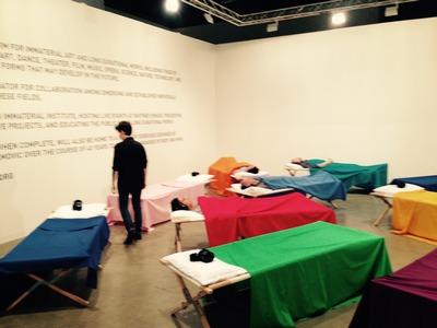 Marina Abramovic ArtBasel Naps at the Beyler Foundation Booth at Art Basel. Photo by Gustavo Taborda