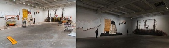 Mamma Andersson and Ossian Rossland Lindvall working on murals for her 2015 solo exhibition Behind the Curtain at David Zwirner, New York Photo by Scott Rudd.