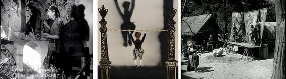 Left: Ingmar Bergman, Still from Seventh Seal, 1958 Middle: Mamma Andersson, Hangman, 2014 Oil on panel 49 1/4 x 49 1/4 x 3/4 inches Right: Ingmar Bergman, Still from Seventh Seal, 1958