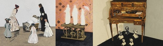Left: Crib, 2014 Oil on panel 41 x 48 1/8 x 1/2 inches Middle: Mimicry, 2014 Oil on panel 49 1/4 x 39 3/8 x 7/8 inches Right: The Uninvited, 2014 Oil on panel 43 5/8 x 65 5/8 x 3/8 inches