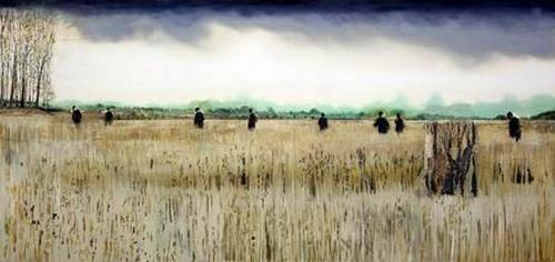 Akerland 2012 Oil and acrylic on panel. 42 x 98 inches