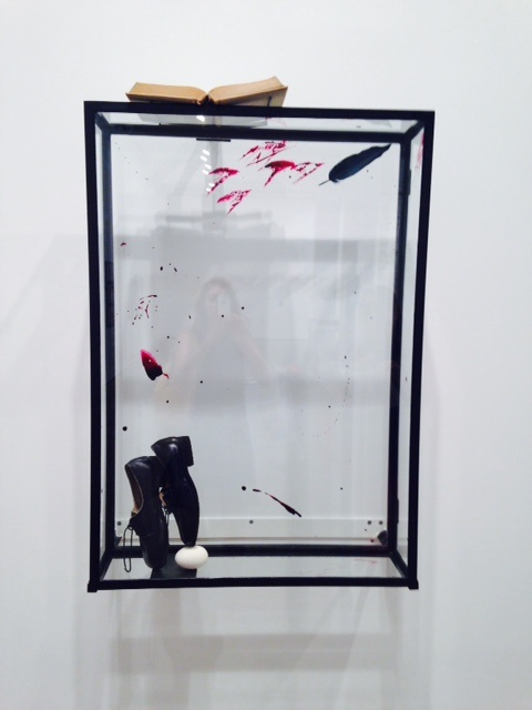 Rebecca Horn, Bloomsday for Sean, 1977, vitrine, egg, shoes, red paint, 41 1/2 x 27 1/2 x12 inches