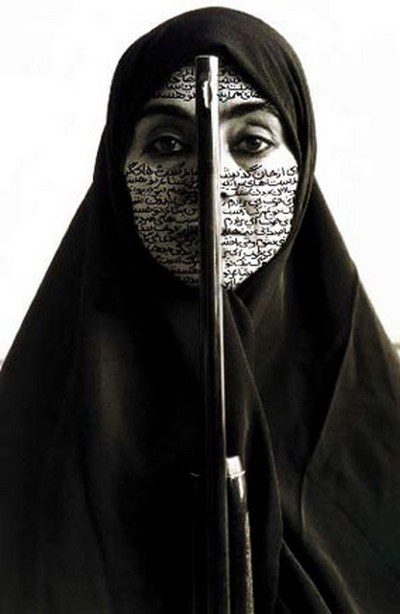 Rebellious Silence, 1994, from the series of Women of Allah, Ink on RC print, photograph by Cynthia Preston