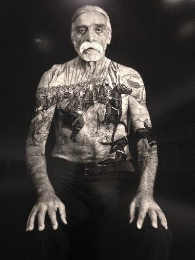 Bahram, from the series The Book of Kings , 2012, Ink on LE gelatin silver prints, photograph taken by Larry Barns.
