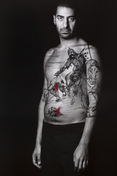 Villains, from the series The Book of Kings, 2012, Ink on LE gelatin silver prints, photograph taken by Larry Barns.