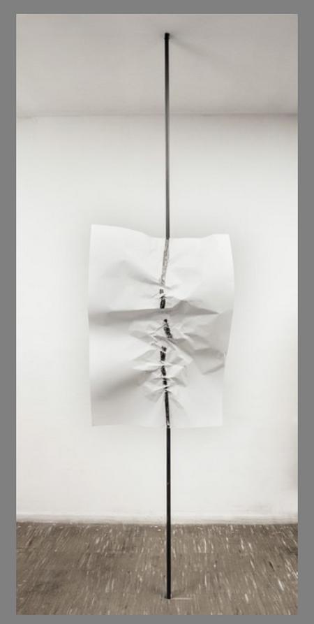 Eduardo T. Basualdo Grito [Shout], 2014 Metal, graphite on paper 59 1/10 × 39 2/5 in