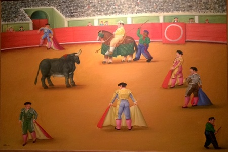 The bullfight 2002, Oil on canvas, 98x144cm
