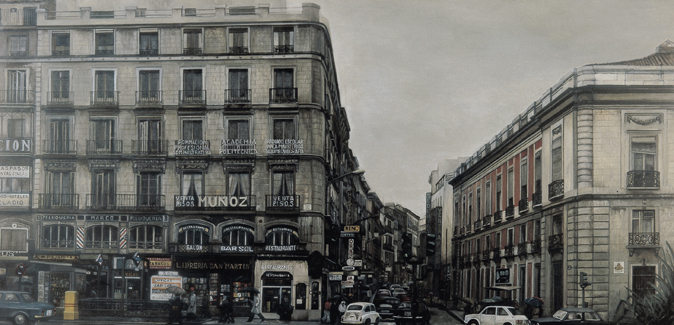 Amalia Avia. Puerta del Sol 1979 Oil on wood panel. 120 x 240 cm.