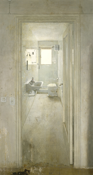 Antonio López. El cuarto de baño 1966. Óil on wood panel 228 x 119 cm.