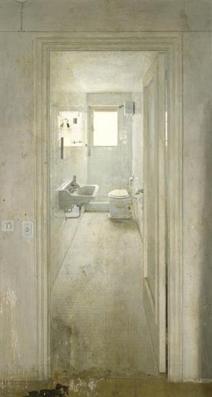 Antonio López. El cuarto de baño 1966. Óil on wood panel 228 x 119 cm.