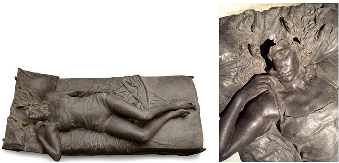 Julio-López, The dream 1976; details on right.
