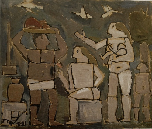 Figura con palomas, 1949 Oil on carton, 49x53