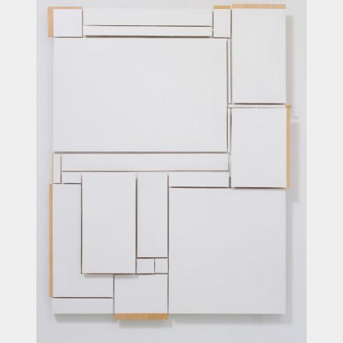 Kishio Suga -PROTRUSION SSS-87, Plywood, lacquer,65.0 × 48.3 × 3.1 inches